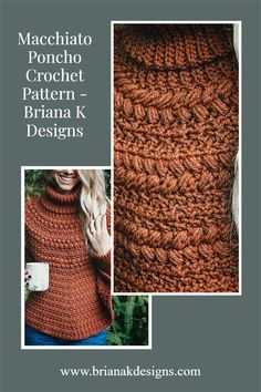 The Macchiato Crochet Poncho is a fun and beautiful crochet project. You will love wearing this piece all fall and winter long. Throw it on over any top and pair it with jeans and flats. Or even your winter boots! this would also be cute for a night out on the town with wide-leg neutral pants and heels. #poncho #macchiato #crochet Winter Home Decor, Winter House, Crochet Poncho Patterns, Crochet Hats, Jeans And Flats, Beautiful Crochet, Crochet Projects, Free Pattern, Design