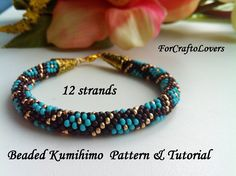 12 strands beaded kumihimo pattern tutorial turquoise diamonds bracelet by ForCraftoLovers on Etsy