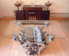 Man cave coffee table..just don't get drunk and fall on it ...