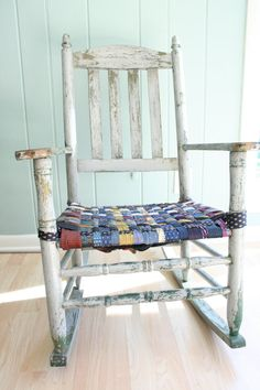 I love this antique rocking chair! It looks like the seat is made out of intertwined men's neckties.