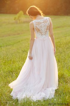 allure bridals romance fall 2015 style 2716 wedding dress sleeveless ivory pink illusion back full view #weddingdress #pinkweddingdress