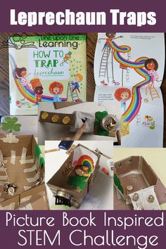 The leprechaun traps STEM challenge is seasonal way to practice building things and learning from design mistakes. Inspired by the book How to Trap a Leprechaun. Math Activities For Kids, Spring Activities, Hands On Activities, Book Activities, Leprechaun Trap, Stem Science, Stem Challenges, Lessons For Kids, The Book