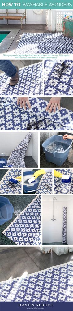 Annie Selke reveals the secrets of cleaning your indoor/outdoor rug in a small space. Hint: It's super easy!