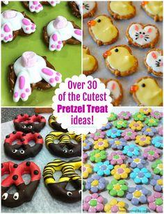 Over 30 of the Cutest Pretzel Treat ideas! Holiday Desserts, Holiday Treats, Holiday Recipes, Easter Desserts, Easter Candy, Easter Treats, Easter Food, Pretzel Snacks, Pretzel Recipes
