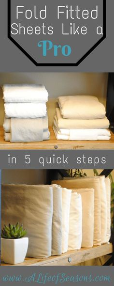 Fold Fitted Sheets Like a Pro - A Life of Seasons Housekeeping Tips How To Fold Sheets, Fold Bed Sheets, Folding Fitted Sheets, Sheet Storage, Diy Storage, Linen Closet Organization, Organization Hacks, Laundry Organizer, Closet Storage