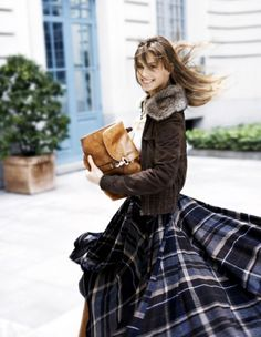 winter - long plaid skirt