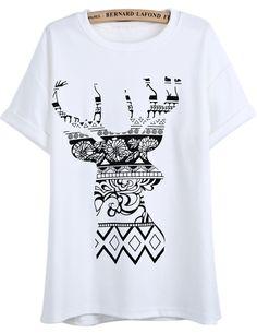 T-Shirt à imprimé cerf floral -blanc  EUR€16.75