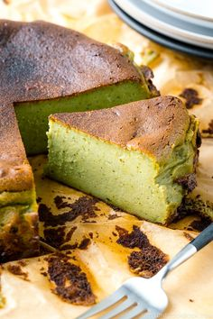 Creamy, custardy, and subtle caramel flavor with lingering sweetness from green tea all in one bite, this Matcha Basque Cheesecake is baked at a high temperature for the iconic burnt look. Follow my tips and tricks for a foolproof recipe. #matcha #basquecheesecake #cheesecake | Easy Japanese Recipes at JustOneCookbook.com