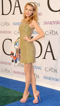 Blake Lively in a Michael Kors dress and Casadei pumps with Lorraine Schwartz jewelry.