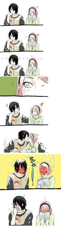 Sasuke, Sakura, cute, couple, funny, comic, kissing, blushing; Naruto