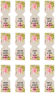 Floral Free Printable Tea Bag Tags Not My Wedding Diy Tea Bags, Tea Bag Favors, Tea Party Favors, Diy Cadeau Noel, Tea Tag, Diy And Crafts, Paper Crafts, Little Presents, Tea Packaging