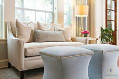 Garnet Bend family home living room with cream sofa and blue table/seats. By The Woodlands Interior designer - Amanda Carol Interiors. Living Room Area Rugs, Home Living Room, Living Room Decor, Sophisticated Living Rooms, Formal Living Rooms, Living Spaces, Formal Dining Tables, Cool Color Palette, Grey Interior Design