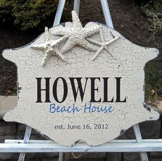 Vintage Style Personalized Beach House Sign Home Decor Wall Antiqued Rustic