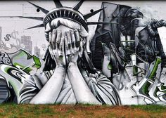 Detail from a well-executed mural by NOK crew (via Streetart retards). A common theme in both US and non-US street art is the problems with American government. About time someone had a pop at the UK but our government is so banal its barely worth a pencil sketch!