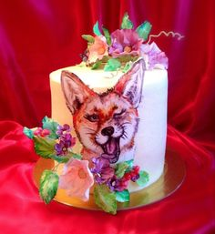 """Cake with hand-painted """"Sly Fox"""" - cake by Sweet pear"""