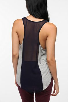 adding a back panel like this could make a too-small top bigger.  Daydreamer LA Shirttail Racerback Tank Top  #UrbanOutfitters