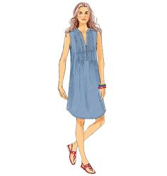 For summer, a pullover dress with pintucks and button front. Sew Butterick Misses' Tunic and Dress Tunic Sewing Patterns, Tunic Pattern, Dress Patterns, Patron Butterick, Vogue, Night Gown, Dress Making, Designer Dresses, Dress Skirt