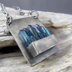 Inspiration: Aqua Aura Quartz Points Fine and Sterling Silver Oxidized Pendant Metal Clay Jewelry, Stone Jewelry, Crystal Jewelry, Pendant Jewelry, Silver Jewelry, Silver Ring, Quartz Jewelry, Silver Bracelets, Silver Earrings