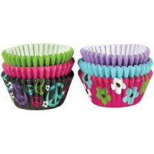 Peace and Flower Mini Baking Cups - Wilton