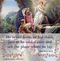 He is risen.  Praise the Lord.  Easter Joy! Bible truth