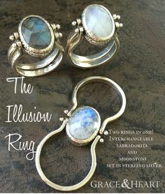 Grace & Heart's Illusion Ring is two rings in one with interchangeable labradorite and moonstone set in sterling silver.