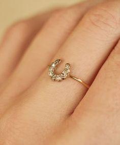 Gold & Pave Horseshoe Ring
