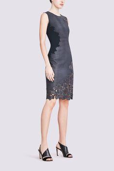 Elie Tahari | Avital Dress In Laser Cut Leather