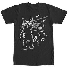 Lost Gods Boombox Cat Cartoon Mens Graphic T Shirt, Men's, Size: Large, Black