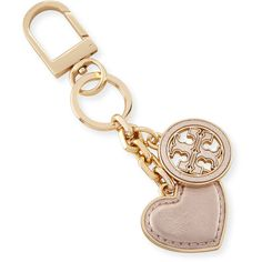 Tory Burch Logo & Heart Charm Key Fob ($55) ❤ liked on Polyvore featuring accessories, rose gold, tory burch key ring, keychain key ring, tory burch key chain, logo key chains and leather key chain