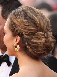 skinny French braid woven into messy bun updo... formal wedding hair, or just for a fun day