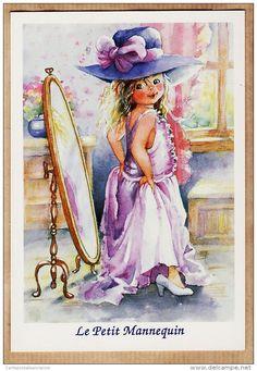 ILL185 Illustration Style POULBOT Série ENFANTS Le PETIT MANNEQUIN Fillette 1980s ABEILLE-CARTES LYNA FS 2333/5