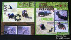 Dog Scrapbook Album Page. Visit www.scrapngrow.com for more information.
