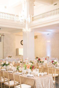 gold glitter linen | Matt and Julie #wedding