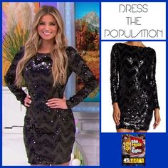 DRESS THE POPULATION 'Lola' Chevron Sequined Minidress in Black/Dark Grey worn by Amber Lancaster