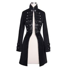 Item Type: Outerwear & Coats Decoration: Button,Flocking Hooded: No Closure Type: Single Button Sleeve Style: Regular Sleeve Length(cm): Full Material: Polyester Collar: O-Neck material: fabric : flocking Gothic Mantel, Gothic Jackets, Punk Jackets, Outerwear Jackets, Steampunk Jacket, Steampunk Clothing, Steampunk Costume, Steampunk Fashion, Victorian Dresses