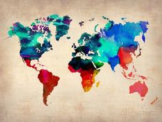 World Map in Watercolor Posters na AllPosters.com.br
