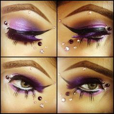 Fairy eyes. Use eyelash adhesive as a glue when attaching the rhinestones or any other accessories to your face. #makeup #eyemakeup #fantasy