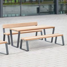 CAMPUS LEVIS TABLE - Designer Tables and benches from Westeifel Werke ✓ all information ✓ high-resolution images ✓ CADs ✓ catalogues ✓ contact. Wooden Garden Furniture, Loft Furniture, Iron Furniture, Steel Furniture, Furniture Design, Outdoor Furniture, Metal And Wood Bench, Metal Picnic Tables, Table Design