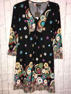 REBORN-Black-Multicolored-Garden-Dress-Boho-NWT-Size-Small