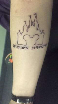 Mickey castle outline tattoo