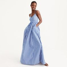Buy this now for next summer! J. Crew Long drapey spaghetti-strap dress in stripe.