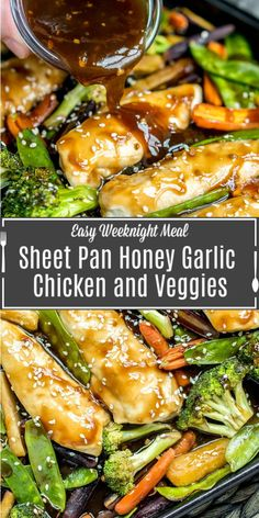 This easy Sheet Pan Honey Garlic Chicken with Veggies has the flavors of a stir fry. It& a one pan honey garlic chicken with a sweet, tangy, marinade. Baked in the oven for 15 minutes, this is a quick and easy chicken dinner recipe for families. Easy Chicken Dinner Recipes, Chicken Sheet Pan Dinners, Sheet Pan Chicken Recipe, One Pan Recipe, Tasty Recipes For Dinner, Chicken And Veggie Recipes, Honey Garlic Chicken, Keto Chicken, Baked Chicken And Veggies