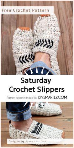 [Free Pattern] Saturday Crochet Slippers - To do Diy Crochet Slippers, Crochet Slipper Pattern, Felted Slippers, Knit Slippers Free Pattern, Crochet Crafts, Easy Crochet, Free Crochet, Baby Blanket Crochet, Crochet Baby