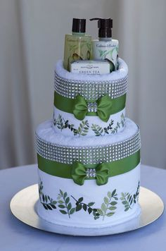 "The ""GREEN ELEGANCE"" Towel Cake. Perfect for Mother's Day, Birthday or  Bridal Shower Gift or Centerpiece. on Etsy, $110.00"