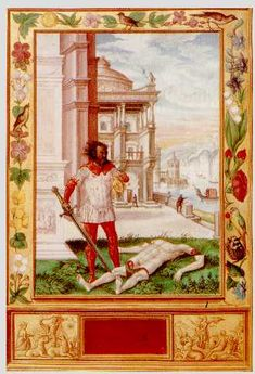 """Splendor Solis, 'Severing the Head of the King'.  From Levity: """" The symbolic process shows the classical alchemical death and rebirth of the king, and incorporates a series of seven flasks, each associated with one of the planets."""""""
