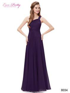 [Clearance Sale] Bridesmaid Dresses Ever Pretty HE08034 Flowers One Shoulder Rhinestone Dress Lace Floor Long Chiffon Dress