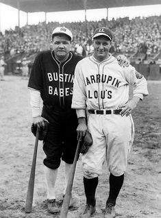 "Yankee stars Babe Ruth and Lou Gehrig pose in their ""Bustin' Babes"" and ""Larrupin Lous"" uniforms from their 1927 barnstorming tour. On this day in Babe Ruth made his last public appearance when. Babe Ruth, Baseball Players, Baseball Cards, Baseball Photos, Pro Baseball, Softball, Equipo Milwaukee Brewers, Mlb, Lou Gehrig"