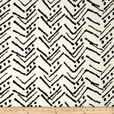 Rayon Challis Abstract Arrow Ecru/Black from @fabricdotcom  This soft and lightweight rayon fabric has a beautiful fluid drape and soft hand. It is perfect for creating shirts, blouses, gathered skirts and flowing dresses with a lining. Colors include black and ecru.