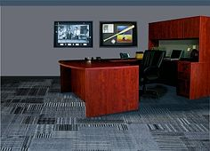 Running Line Carpet Tile Office Installation- carpet tile is more convenient than standard carpet. If one spot gets damaged just replace 1 carpet tile instead of the whole floor! Commercial Carpet, Carpet Tiles, Interior Decorating, Cushions, Flooring, Running, Furniture, Home Decor, Throw Pillows