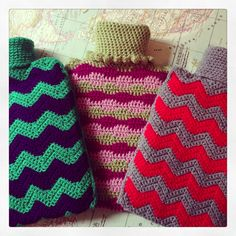 Crochet hot water bottle covers - chevron! Sealed end :)